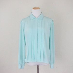Vintage secretary polyester button up blouse